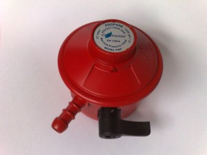 A red propane regulator